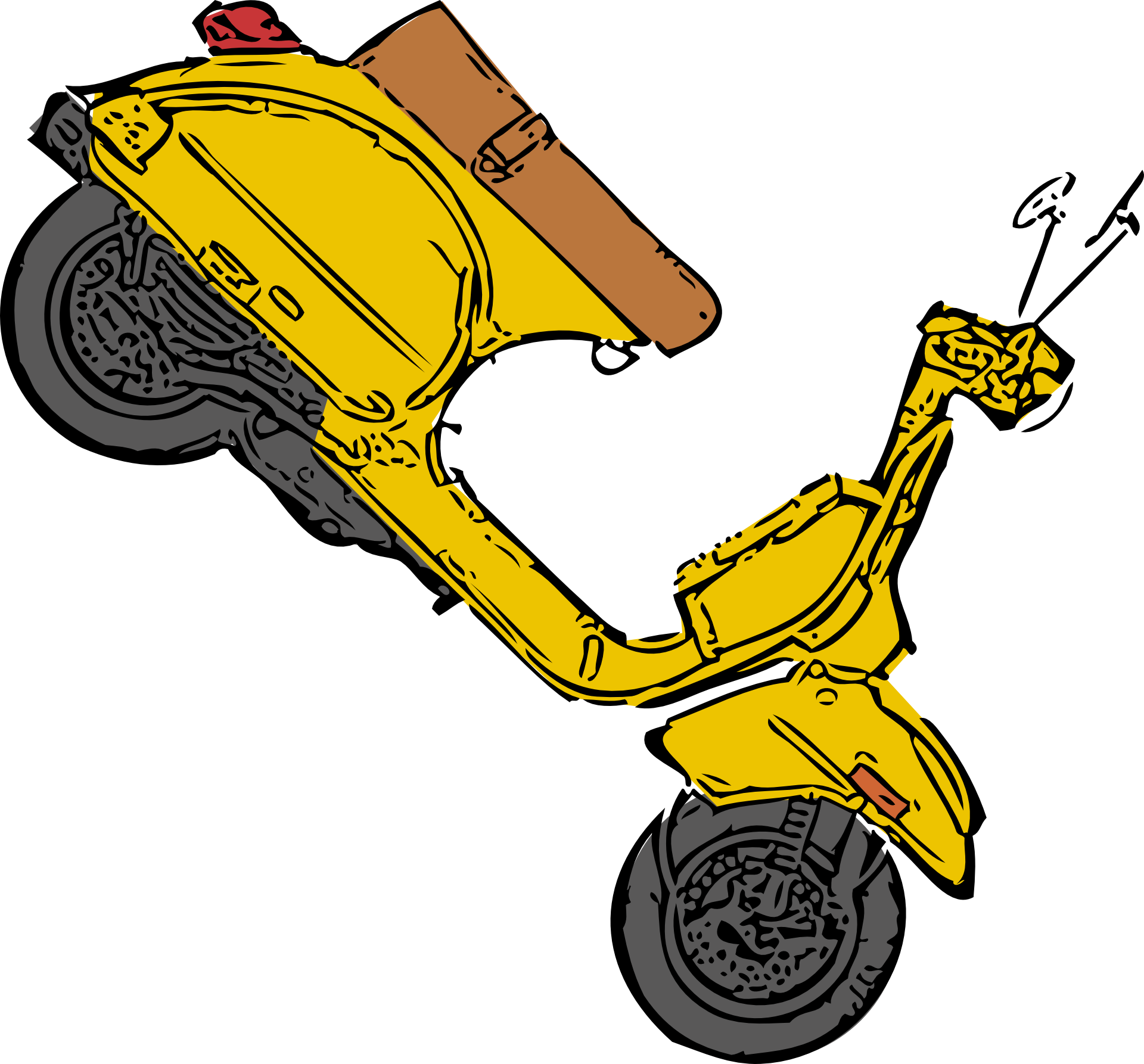 Yellow Vintage Scooter Illustration Free Image