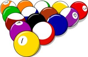 billiard balls with numbers of different colors