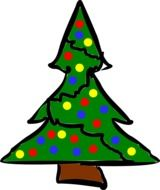 decorated christmas tree, illustrated