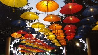 umbrella night sky park