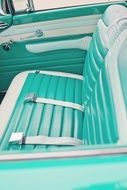 vintage car interior in turquoise color