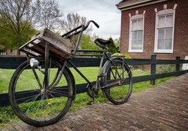 antique bicycle with basket