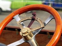 steering wheel on an old car
