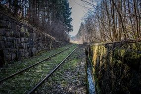 Old railway track autumn view