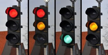 Four traffic lights with different signals