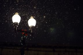 snow in the light of a street lamp
