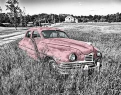 oldtimer car in the grass