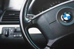 steering wheel of bmw car