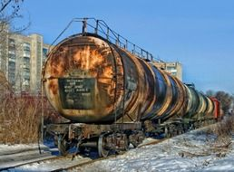 Old tank cars on the railroad in Ukraine