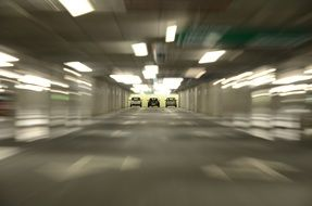 car race in the tunnel