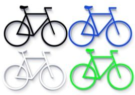four bicycles in different colors, illustration