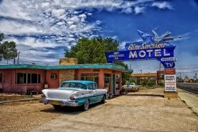 Blue Swallow motel and retro car