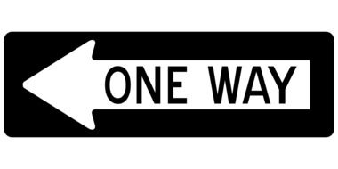arrow one way left sign road