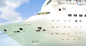 huge white cruise ship closeup