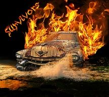 Old car in the flames clipart