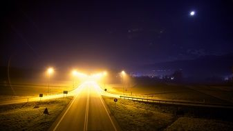 deserted highway at night