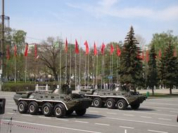 military parade on victory day in samara