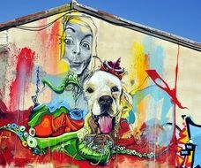 colorful mural with dog head and human face, cyprus