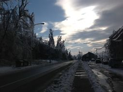 winter road in the village