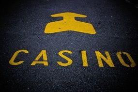 casino mark on the roadway