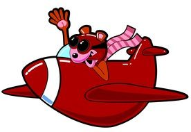 graphic image of a cartoon gopher in a red plane