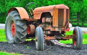 antique tractor on a farm