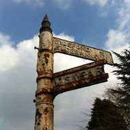 aged metal roadsign, uk, england, cornwall
