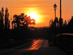 road along the streetlights in the sunset