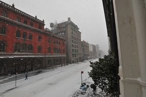 panoramic view of snowfall on a new york city street
