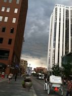 storm clouds over city street in denver
