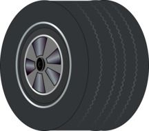 black wheel tire drawing