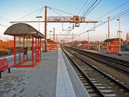 panoramic view of a deserted platform at a train station in the netherlands