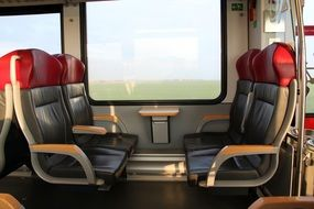leather seats in a modern train