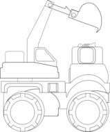 drawing dump truck on a white sheet