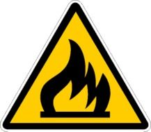painted black flame on a yellow sign