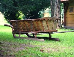 wooden cart without bridle