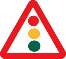 triangular sign in the form of a traffic light