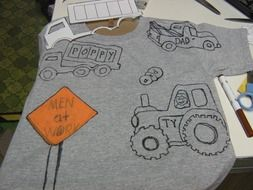 drawn cars on a T-shirt