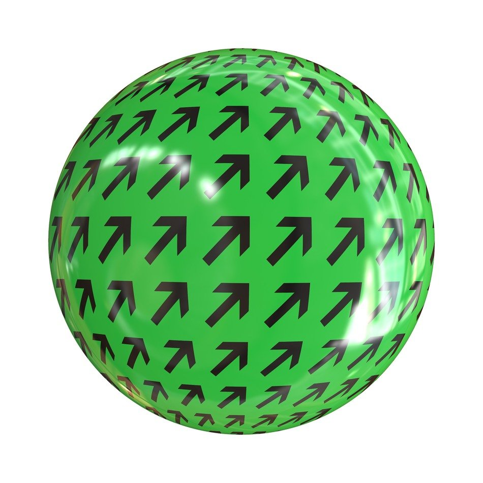 the green ball with the arrow
