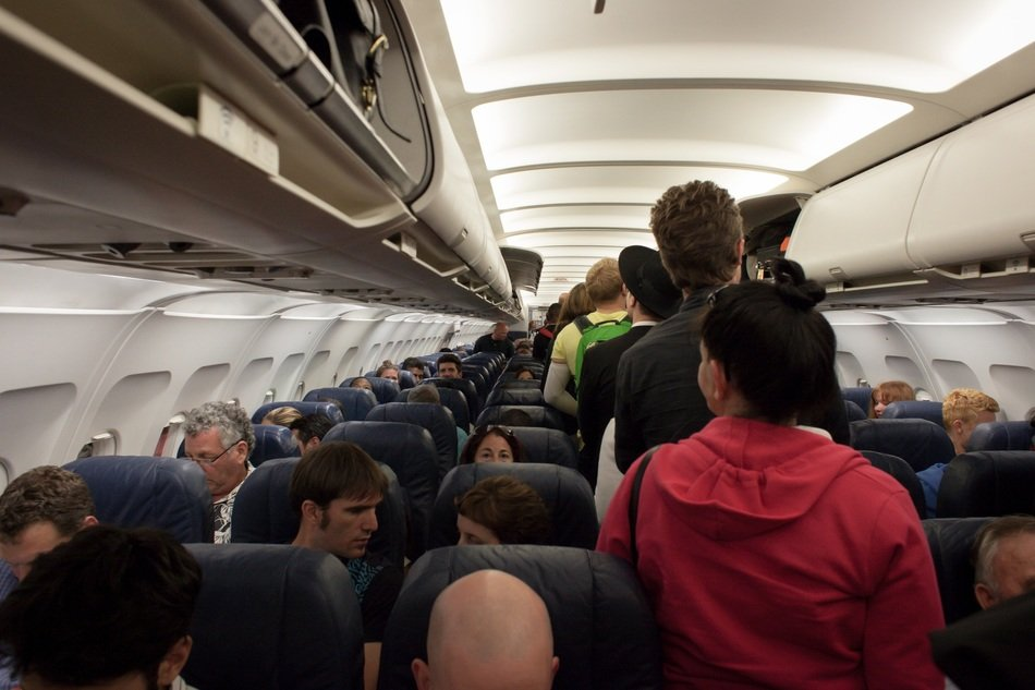airplane with passengers