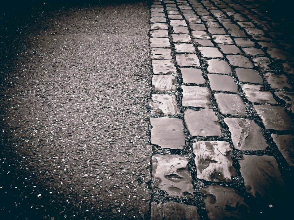 cobblestones road paving