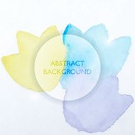 Abstract Watercolor Blue and Yellow Flowers Background