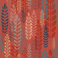 Seamless colorful pattern, leaves and branches at red background