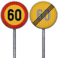 Two yellow and red maximum speed limit 60 road signs