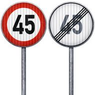 Two red and white maximum speed limit 45 road signs