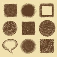 Vector set with doodle backgrounds and frames - ink drawings N2