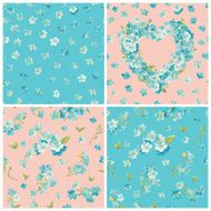 Set of Spring Blossom Flowers Backgrounds N2