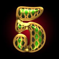 vector golden and green letter 5 N2