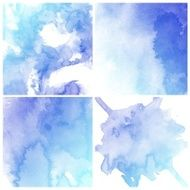 Set of blue, purple and white backgrounds, water color painting