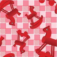 seamless pattern with toys red horses on checked pink background